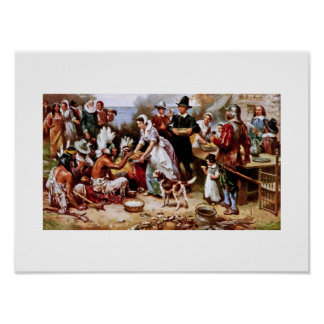 The First Thanksgiving, 1621. Fine Art Poster