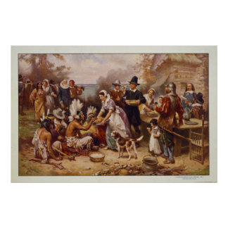 The First Thanksgiving by Jean Leon Gerome Ferris Poster