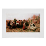 The First Thanksgiving in Plymouth Fine Art Poster