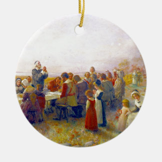 The First Thanksgiving Round Ceramic Ornament
