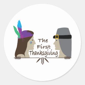 The First Thanksgiving Round Sticker