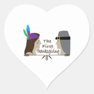 The First Thanksgiving Heart Sticker