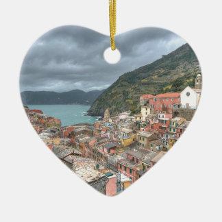 The fishing village of Vernazza, Cinque Terre, Ita Ceramic Ornament