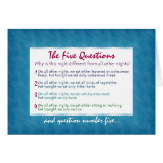 The Five Questions of Pesach Card