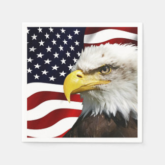 The flag of america with eagle disposable napkin