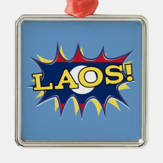 """The flag of Laos """"KAPOW"""" starburst Christmas Ornaments"""