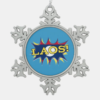 The flag of Laos Pewter Snowflake Ornament