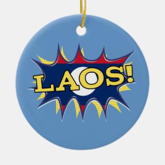 The flag of Laos Round Ceramic Ornament