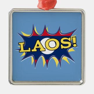 The flag of Laos Silver-Colored Square Ornament