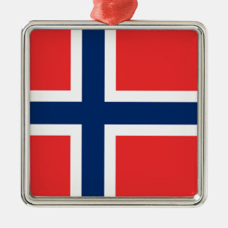 The Flag of Norway - Scandinavia Silver-Colored Square Ornament