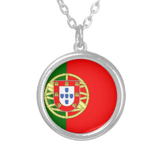 The Flag of Portugal (Bandeira de Portugal) Silver Plated Necklace