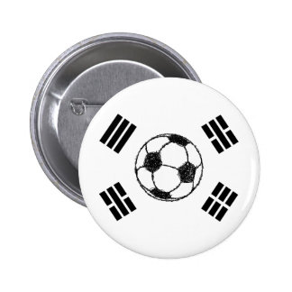 The Flag of South Korea | Soccer Sketch 2 Inch Round Button