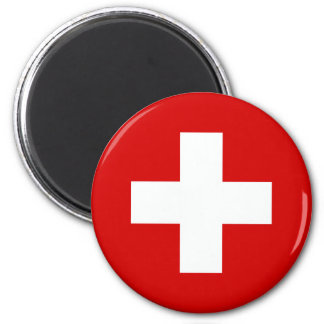 The Flag of Switzerland 2 Inch Round Magnet