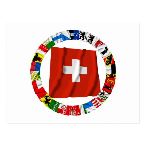 The Flags of the Cantons of Switzerland Postcard
