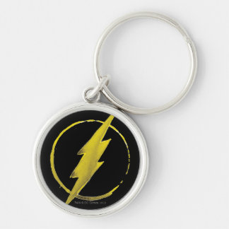 The Flash | Yellow Chest Emblem Silver-Colored Round Keychain