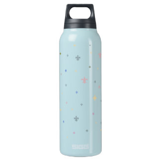The Fleur-de-Lis - Vintage Pastel Colours Insulated Water Bottle