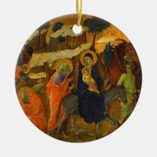 The Flight Into Egypt by Duccio Fine Art Ceramic Ornament