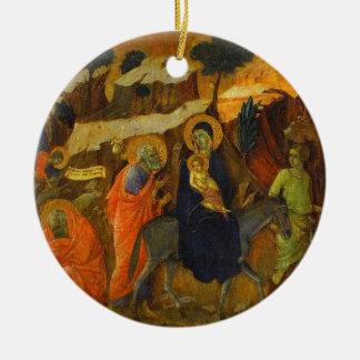 The Flight Into Egypt by Duccio Fine Art Ceramic Ornament