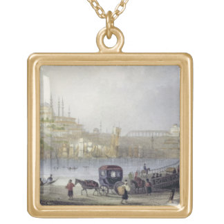 The Floating Bridge, Istanbul, engraved by J.C. Be Gold Plated Necklace