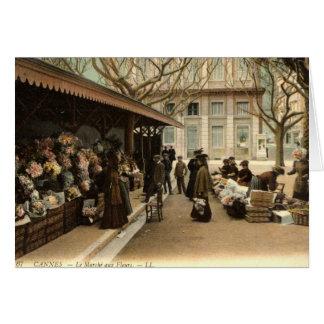 The Flower Market, Cannes France, 1915 Vintage Card