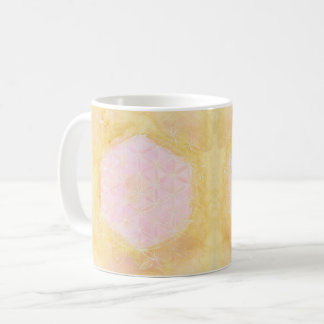 The Flower of Life, Sacred Geometry -Pink & Gold- Coffee Mug