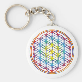 the flower of the life basic round button keychain