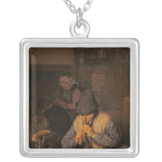 The Flute Player, 17th century Silver Plated Necklace