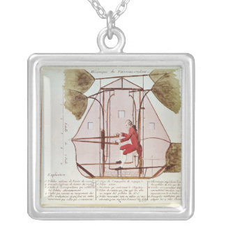 The Flying Machine of Jean Pierre Blanchard Silver Plated Necklace