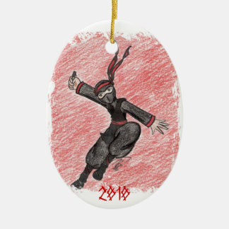 The Flying Ninja Ceramic Oval Ornament