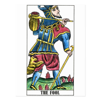 The Fool or Jester Tarot Card Postcard