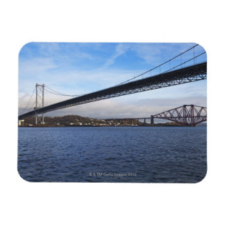 The foreground Forth Road Bridge is a suspension b Rectangular Photo Magnet