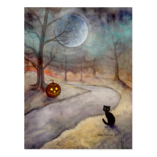The Forgotten Path Halloween Black Cat and Pumpkin Postcard
