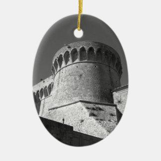 The Fortezza Medicea of Volterra . Tuscany, Italy Ceramic Oval Ornament