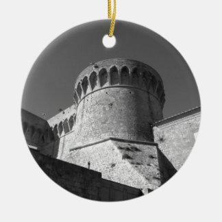 The Fortezza Medicea of Volterra . Tuscany, Italy Round Ceramic Ornament