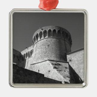 The Fortezza Medicea of Volterra . Tuscany, Italy Silver-Colored Square Ornament