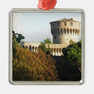 The Fortezza Medicea of Volterra, Tuscany, Italy Silver-Colored Square Ornament