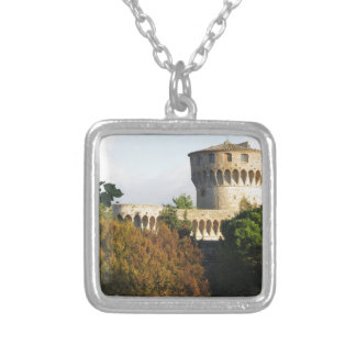 The Fortezza Medicea of Volterra, Tuscany, Italy Silver Plated Necklace