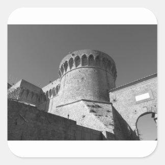 The Fortezza Medicea of Volterra . Tuscany, Italy Square Sticker