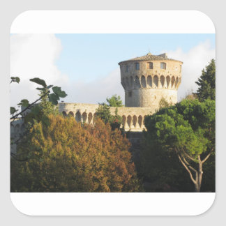 The Fortezza Medicea of Volterra, Tuscany, Italy Square Sticker