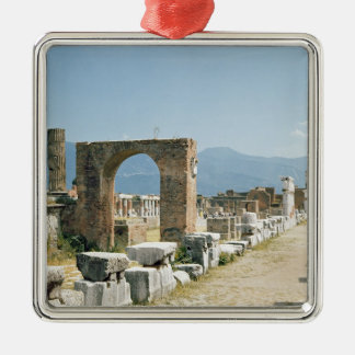 The Forum with the mountains in the background Silver-Colored Square Ornament