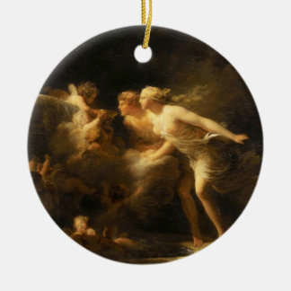 The Fountain of Love by Jean-Honore Fragonard 1785 Round Ceramic Ornament