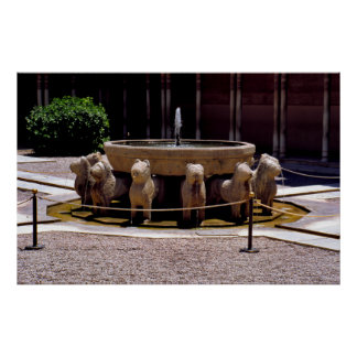 The fountain of the Lions, The Alhambra,  Granada, Poster
