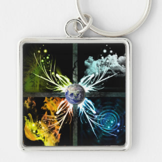 The Four Elements Silver-Colored Square Keychain