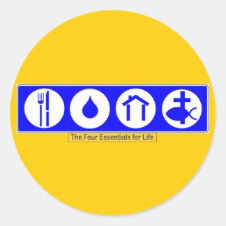 The Four Essentials for Life Classic Round Sticker