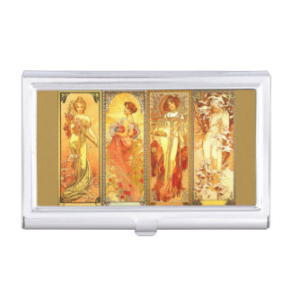 The Four Seasons - Alphons Mucha - Art Nouveau Business Card Holder