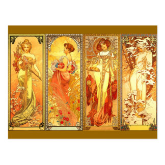 the Four Seasons - Art Nouveau Postcard