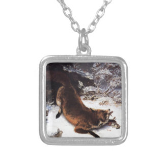 The Fox in the Snow by Gustave Courbet Silver Plated Necklace
