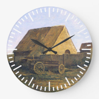 The French Farm by Charles-François Daubigny Large Clock