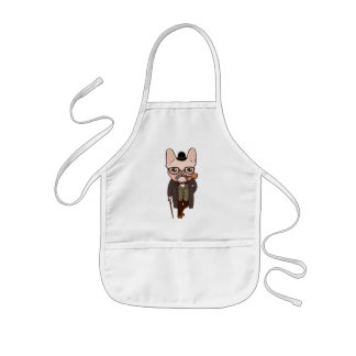The Frenchie gentleman takes a walk after the spri Kids Apron