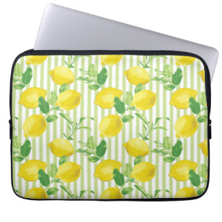 The Fresh Striped Lemon Vector Seamless Pattern Laptop Sleeve